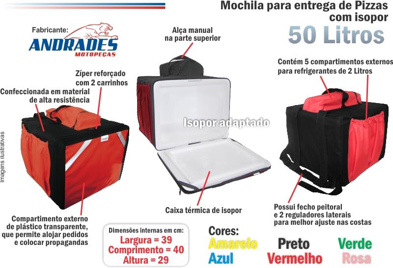 Bolsa Mochila p/ Entrega de Pizzas até 39cm c/ Isopor