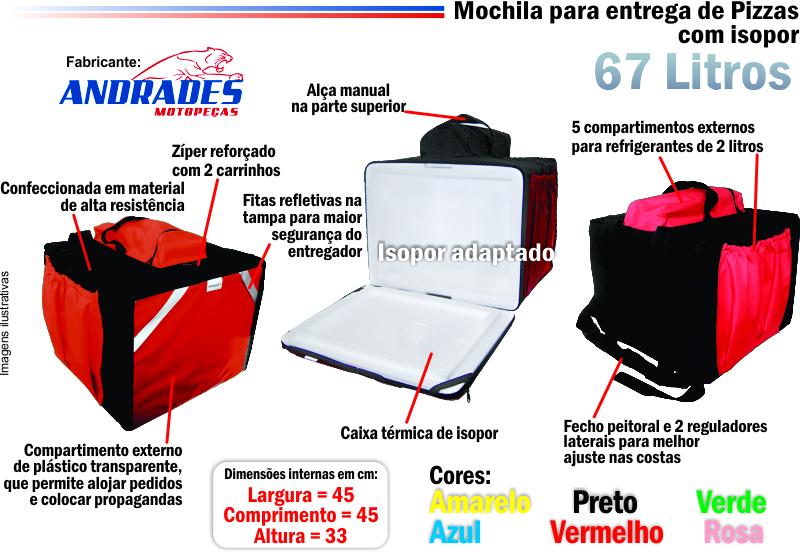 Bolsa Mochila p/ Entrega de Pizzas até 45cm c/ Isopor