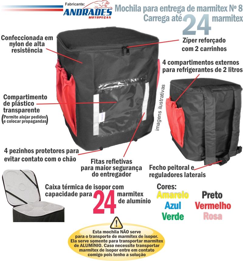 Bolsa Mochila c/ Isopor Nº 08 p/ Entrega de até 24 Marmitex de Alumínio