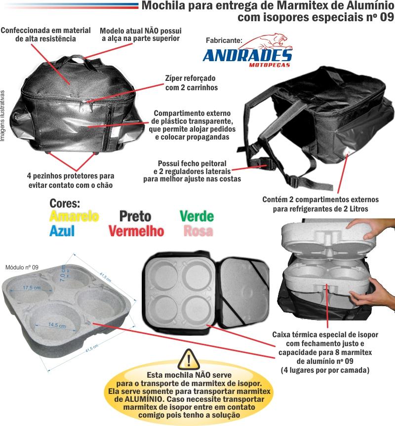 Bolsa Mochila Entrega até 8 Marmitex de Alumínio Nºs 07, 08 e 09