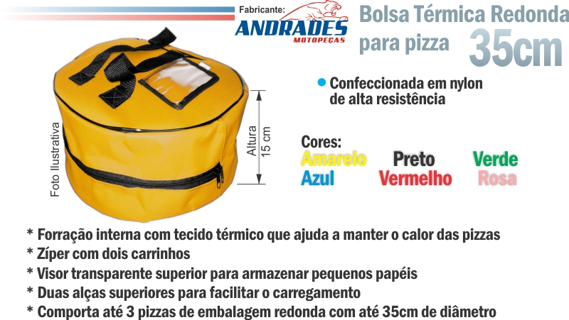 Bolsa Térmica Redonda entrega Pizzas c/ Embalagem até 35cm