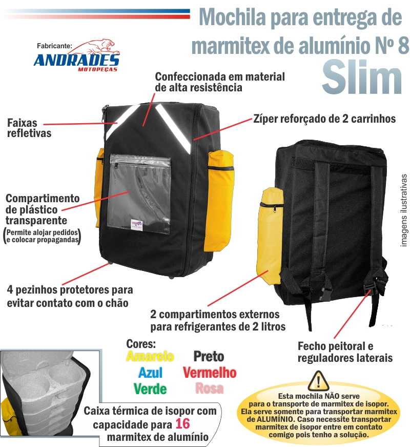 Bolsa Mochila Slim p/ Entrega de 16 Marmitex de Alumínio c/ Isopor Nº 08